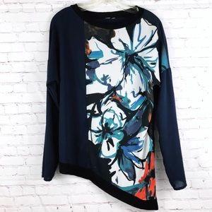 Zara Asymmetrical Floral Knit Top